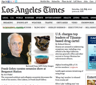 Screeshot of Los Angeles Times page